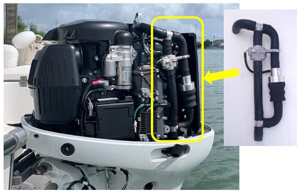 冷却水系統にプラスしてマイクロプラスチックを回収する装置 スズキ(株)船外機